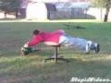 Leaf Blower + Desk Chair = Simple Fun