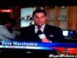 Man Drinks Plant On Background Of Local News Program