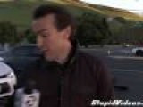 News Reporter Almost Hit By Car