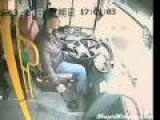 Pole Flies Through Bus