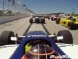 Tire Narrowly Misses Race-Car Driver