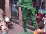 Toy Soldier Human Statue Messes With Mother And Her Son