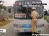 Vietnamese Cop Goes For Wild Bus Ride