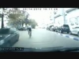 Bike Idiot Jumps On Random Car!