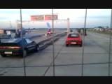 Drag Racing Fail! VW Golf Crashes Into Honda In Reverse