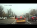 Russian Cop Uses Foot To Stop Car!