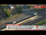 Brisbane High Speed Car Chase Live Footage From Ch7 - April 9th 2012